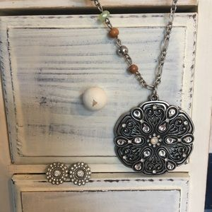 Boho Chic Sparkley Necklace Earrings Wood Beads